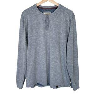 Prana Ronnie Henley Large Mens Long Sleeve Shirt Grey